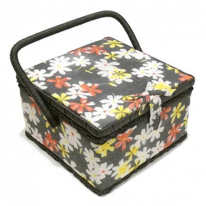 boîte à couture noir à fleurs 22x22x13cm