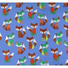tissu popeline bleu renards largeur 145cm x 50cm