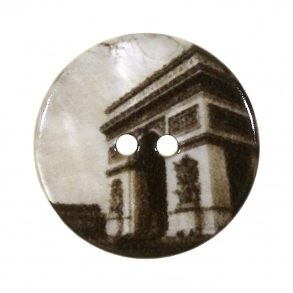 bouton nacre imprimé arc de triomphe 27mm