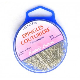 EPINGLES COUTURIERE NICKELEES EXTRA LONGUES 30 MM