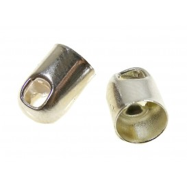 2 embouts ronds argent 6mm