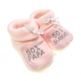 chausson bébé 50%Papa 50%Maman rose