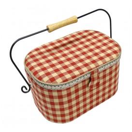 boîte à couture vichy rouge 31x21x18cm
