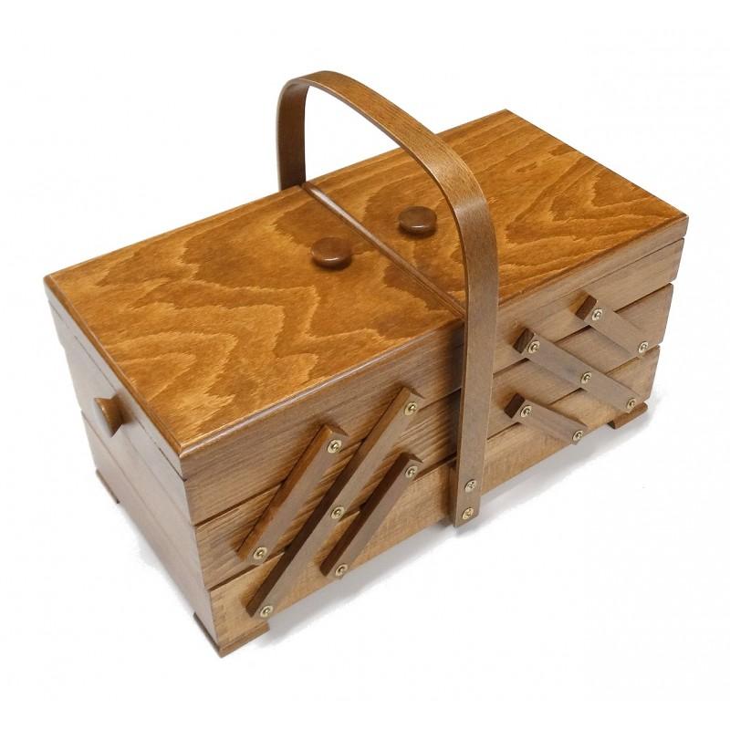 Boite couture travailleuse bois marron fonc for Boite travailleuse