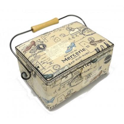 boîte à couture beige mercerie 25x18x12cm