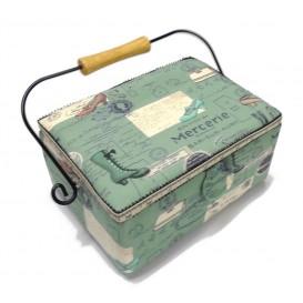 boîte à couture verte mercerie 25x18x12cm