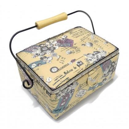 boîte à couture beige couture 25x18x12cm