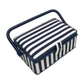 boîte à couture rayure bleue 24x16x11cm