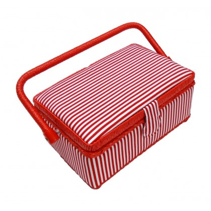 boîte à couture rayure rouge 24x16x11cm