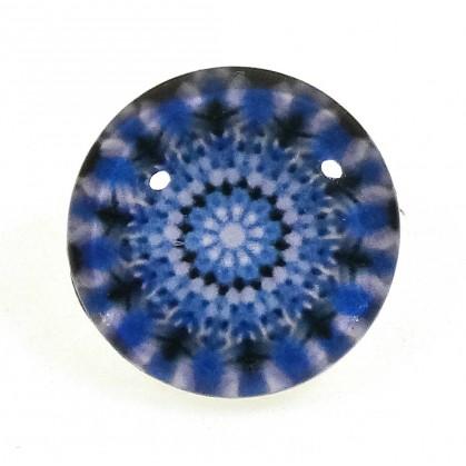 bouton déco arabesque bleu 15mm