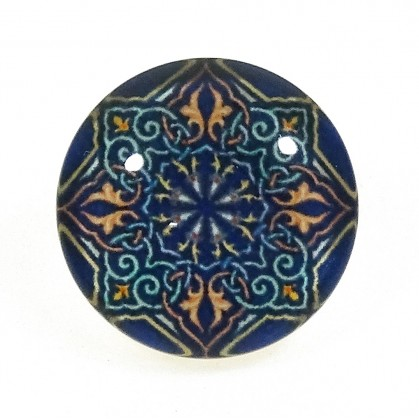 bouton déco arabesque bleu/orange 15mm