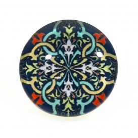 bouton déco arabesque multicolore 15mm
