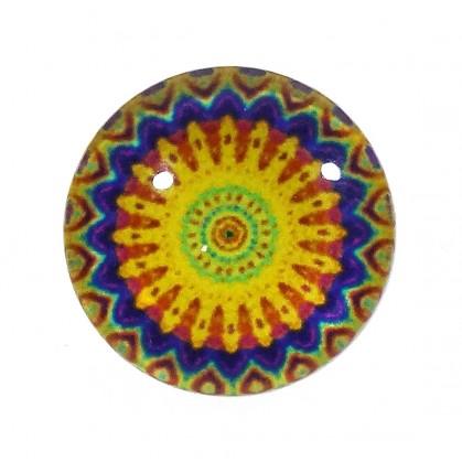 bouton déco arabesque jaune 15mm