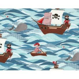 tissu patchwork makower bateau pirate largeur 110cm x 25cm