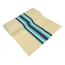 tissu toile transat beige/bleu largeur 44cm x 50cm