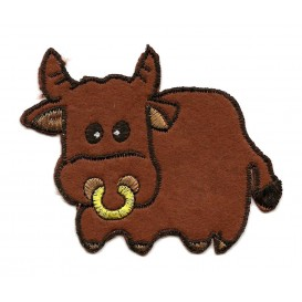 écusson vache marron thermocollant