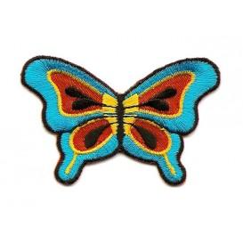 écusson papillon turquoise orange thermocollant