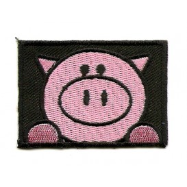écusson cochon rectangle thermocollant