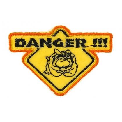 écusson logo danger chien thermocollant