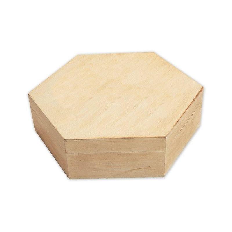 boite hexagonale en bois brut d corer. Black Bedroom Furniture Sets. Home Design Ideas