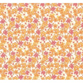 tissu coton fleuri orange largeur 160cm x 50cm
