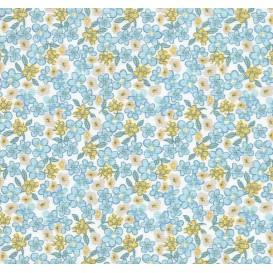 tissu coton fleuri bleu largeur 160cm x 50cm