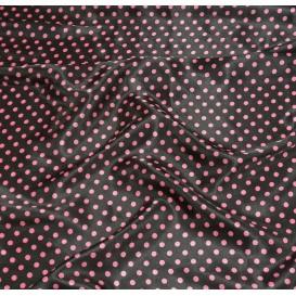 tissu satin noir pois 8mm largeur 148cm x 50cm