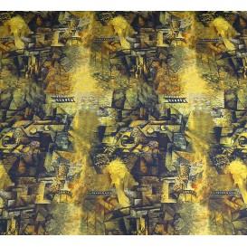 tissu scuba abstrait jaune largeur 145cm x 50cm