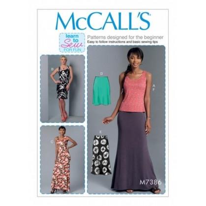 patron haut, robes, jupes McCall's M7386