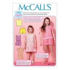 patron enfant hauts, robes, short McCall's M7377