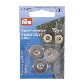 3 boutons magnétique à coudre argent 19mm