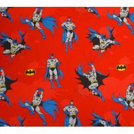 tissu coton batman rouge largeur 140cm x 50cm