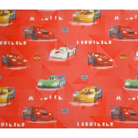 tissu coton disney cars rouge pale largeur 140cm x 50cm