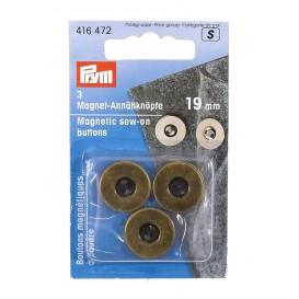 3 boutons magnétique à coudre bronze 19mm