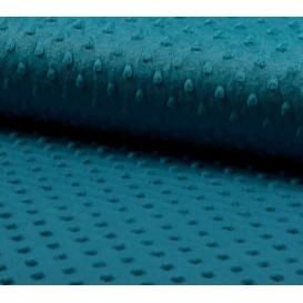 tissu velours minky pois bleu pétrol largeur 140cm x 50cm