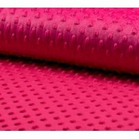 tissu velours minky pois fuchsia largeur 140cm x 50cm