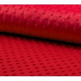 tissu velours minky pois rouge largeur 140cm x 50cm