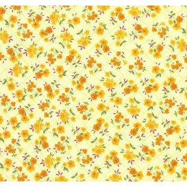tissu coton jaune fleurs carreaux largeur 150cm x 50cm