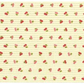 tissu coton beige cerises traits largeur 150cm x 50cm