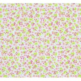 tissu coton bleu fleurs roses largeur 150cm x 50cm