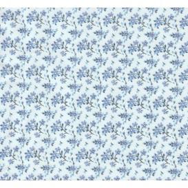 tissu coton bleu fleurs bleues largeur 150cm x 50cm