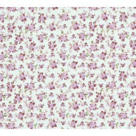 tissu coton vert eau fleurs mauve largeur 150cm x 50cm