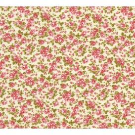 tissu coton écru fleurs rose largeur 150cm x 50cm