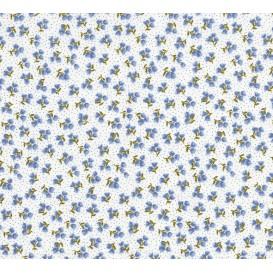 tissu coton blanc fleurs points bleu largeur 150cm x 50cm