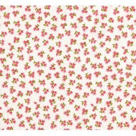 tissu coton écru fleurs points rose largeur 150cm x 50cm