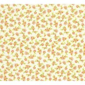 tissu coton écru fleurs corail largeur 150cm x 50cm