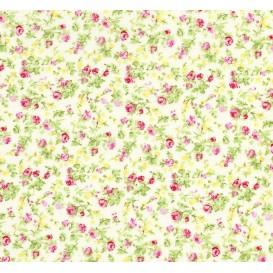 tissu coton écru fleurs rose/jaune largeur 150cm x 50cm