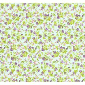 tissu coton vert eau fleurs violet/rose largeur 150cm x 50cm