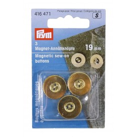 3 boutons magnétique à coudre or 19mm