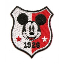 écusson disney blason mickey rouge/blanc thermocollant